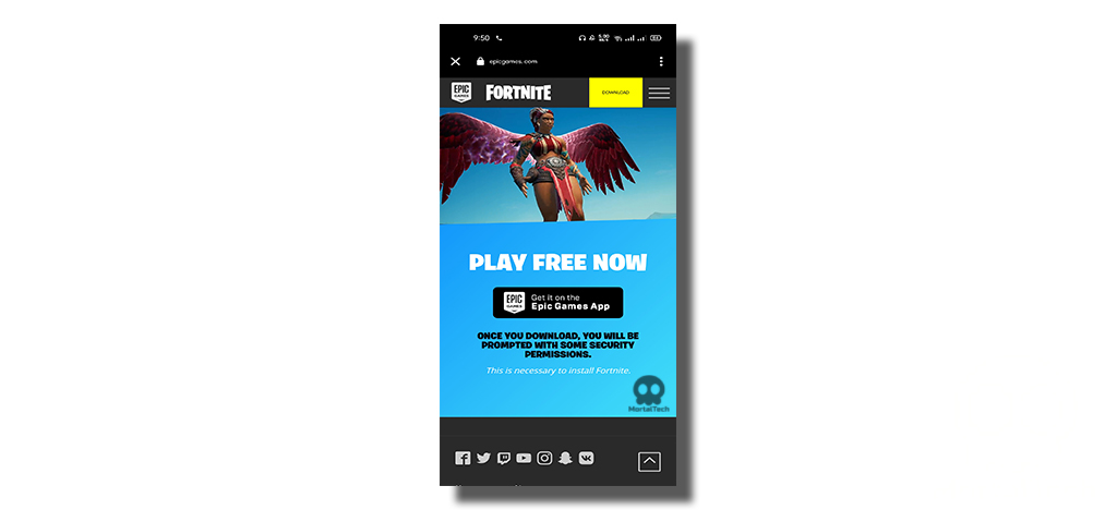 Click on Epic Games App install Fortnite on Android Mobile - MortalTech