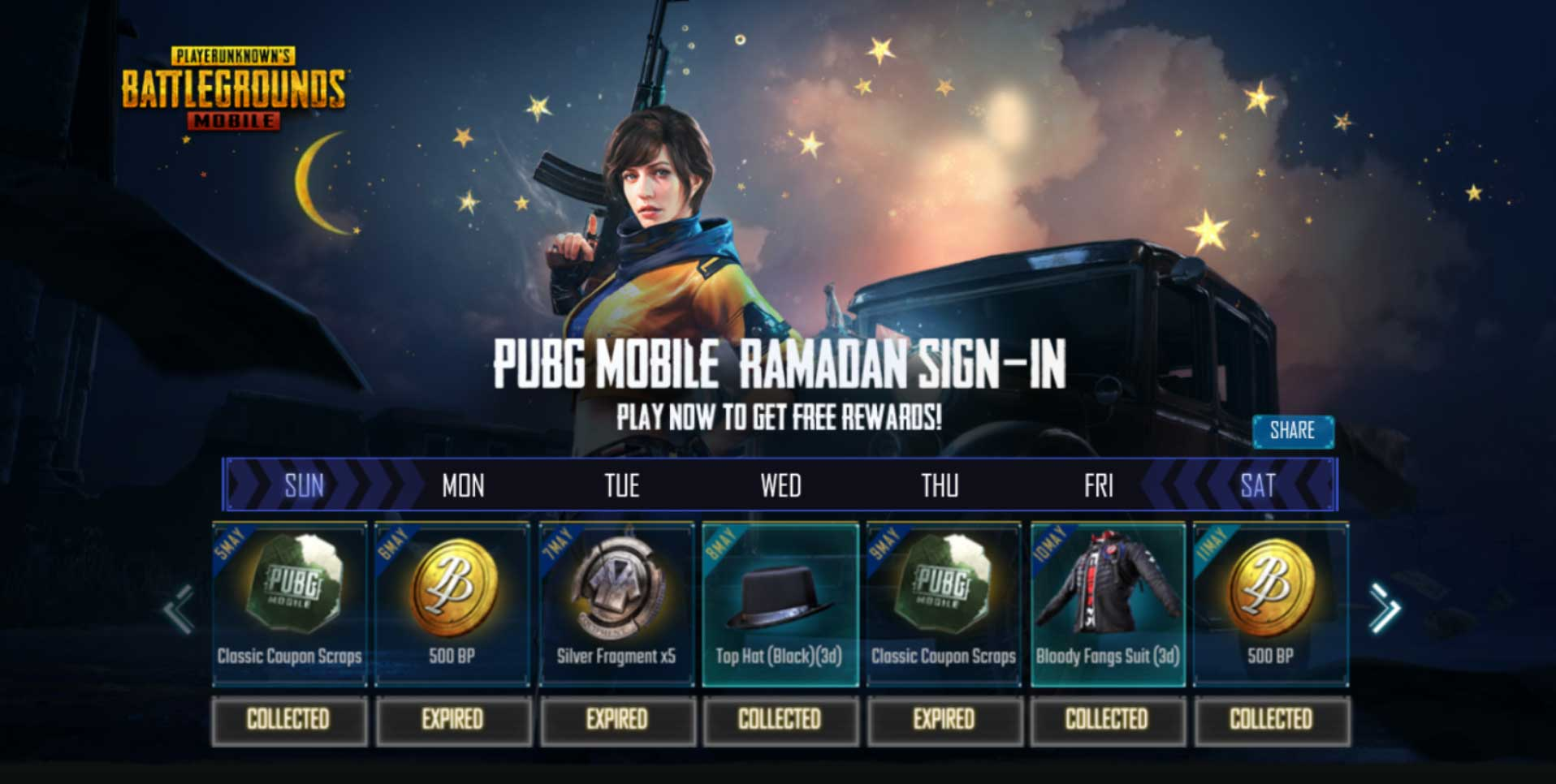 PUBG Ramadan Rewards - Mortal Tech